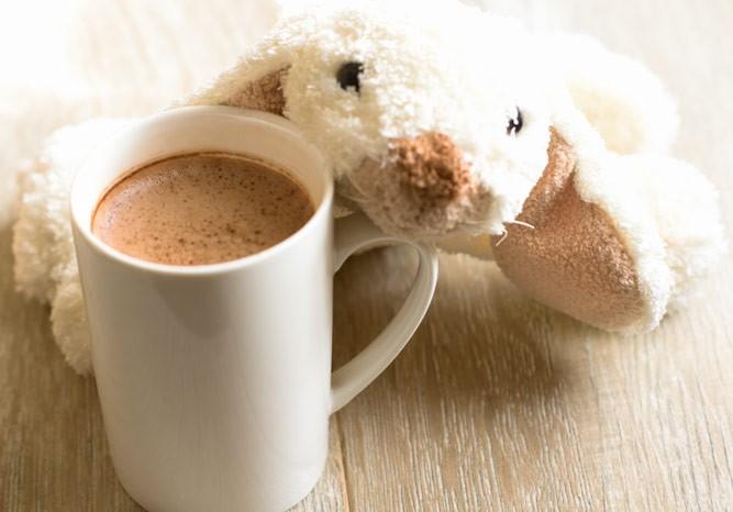 чашечка какао с плюшевой игрушкой