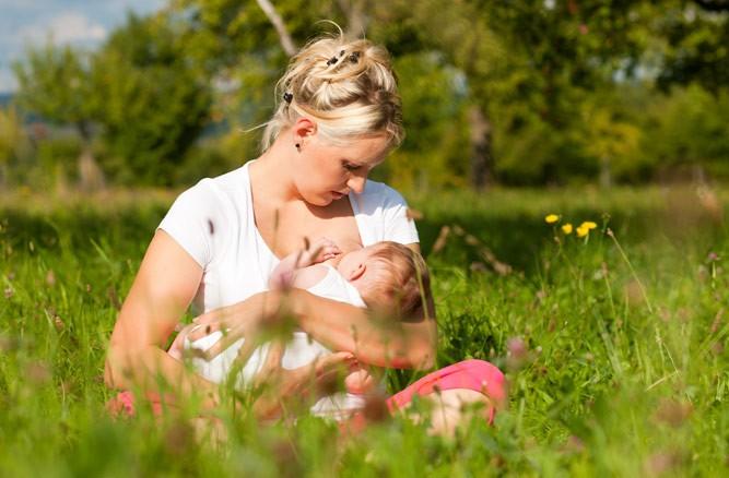 мама с крохой на полянке