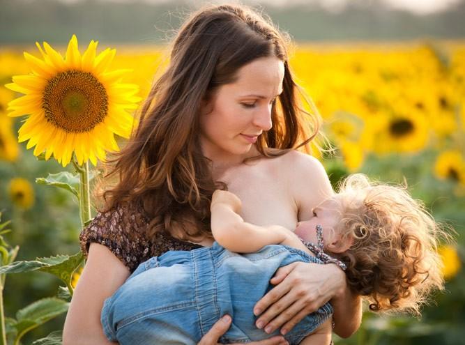 Молодая мама с малышом в поле подсолнечника