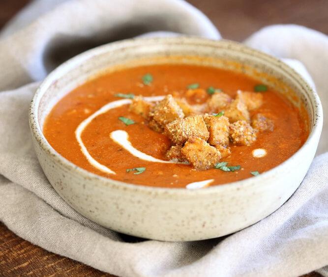 томатный суп-пюре с тофу